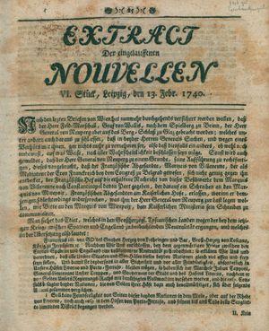 Extract der eingelauffenen Nouvellen vom 13.02.1740
