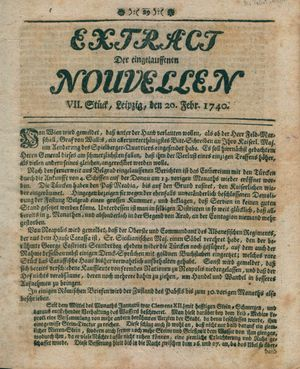 Extract der eingelauffenen Nouvellen on Feb 20, 1740