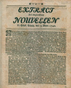 Extract der eingelauffenen Nouvellen vom 19.03.1740