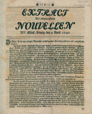 Extract der eingelauffenen Nouvellen vom 09.04.1740