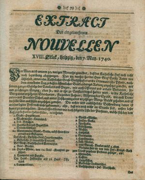 Extract der eingelauffenen Nouvellen vom 07.05.1740