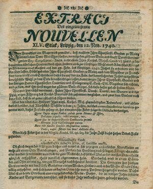 Extract der eingelauffenen Nouvellen vom 12.11.1740