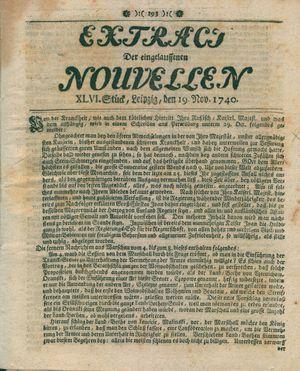 Extract der eingelauffenen Nouvellen vom 19.11.1740