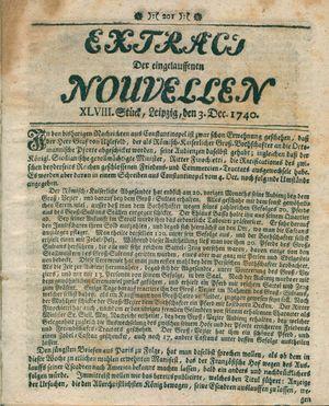 Extract der eingelauffenen Nouvellen vom 03.12.1740