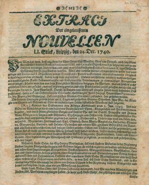Extract der eingelauffenen Nouvellen vom 24.12.1740
