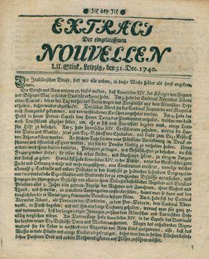 Extract der eingelauffenen Nouvellen vom 31.12.1740