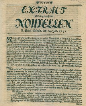 Extract der eingelauffenen Nouvellen vom 14.01.1741