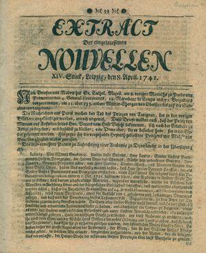 Extract der eingelauffenen Nouvellen vom 08.04.1741