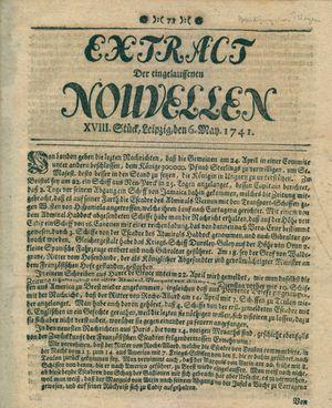 Extract der eingelauffenen Nouvellen on May 6, 1741