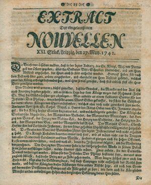 Extract der eingelauffenen Nouvellen vom 27.05.1741