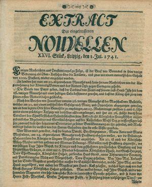 Extract der eingelauffenen Nouvellen vom 01.07.1741