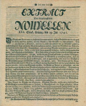 Extract der eingelauffenen Nouvellen vom 29.07.1741