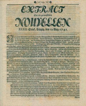 Extract der eingelauffenen Nouvellen vom 19.08.1741