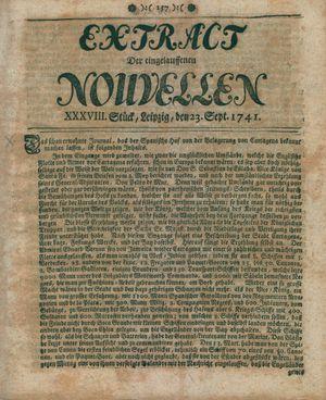 Extract der eingelauffenen Nouvellen vom 23.09.1741