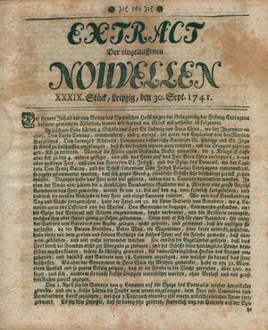 Extract der eingelauffenen Nouvellen vom 30.09.1741