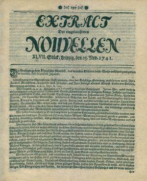 Extract der eingelauffenen Nouvellen vom 25.11.1741
