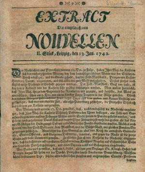 Extract der eingelauffenen Nouvellen on Jan 13, 1742