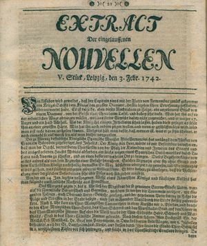Extract der eingelauffenen Nouvellen on Feb 3, 1742