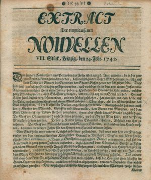 Extract der eingelauffenen Nouvellen vom 24.02.1742