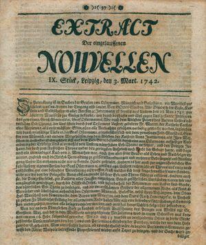 Extract der eingelauffenen Nouvellen vom 03.03.1742