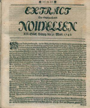 Extract der eingelauffenen Nouvellen vom 31.03.1742