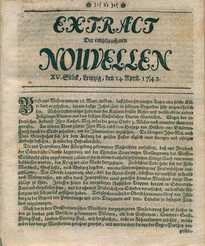 Extract der eingelauffenen Nouvellen vom 14.04.1742