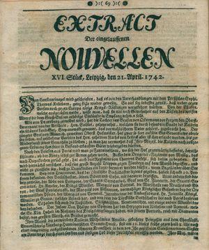 Extract der eingelauffenen Nouvellen vom 21.04.1742
