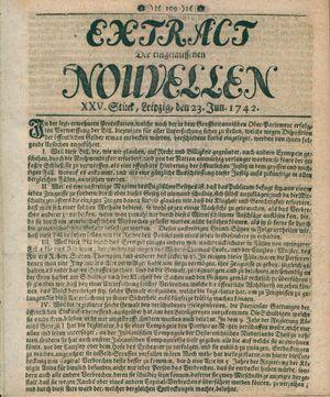 Extract der eingelauffenen Nouvellen vom 23.06.1742