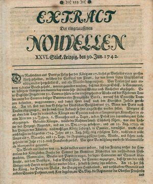 Extract der eingelauffenen Nouvellen vom 30.06.1742