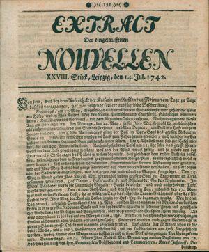 Extract der eingelauffenen Nouvellen vom 14.07.1742