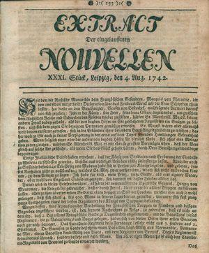 Extract der eingelauffenen Nouvellen vom 04.08.1742