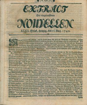 Extract der eingelauffenen Nouvellen vom 11.08.1742