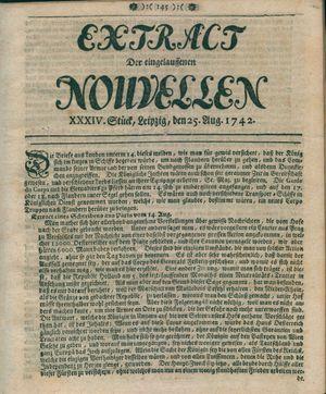 Extract der eingelauffenen Nouvellen vom 25.08.1742