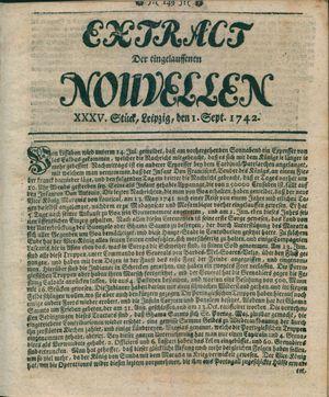 Extract der eingelauffenen Nouvellen vom 01.09.1742