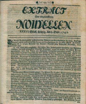 Extract der eingelauffenen Nouvellen vom 08.09.1742