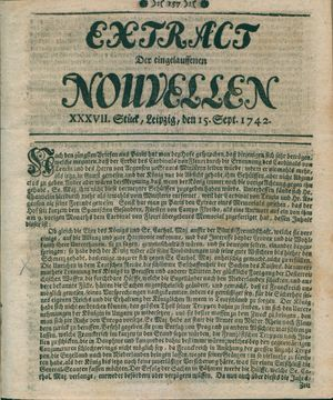 Extract der eingelauffenen Nouvellen vom 15.09.1742