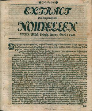 Extract der eingelauffenen Nouvellen vom 29.09.1742