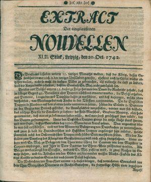 Extract der eingelauffenen Nouvellen vom 20.10.1742