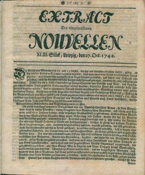 Extract der eingelauffenen Nouvellen vom 27.10.1742
