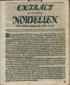 Extract der eingelauffenen Nouvellen on Nov 3, 1742
