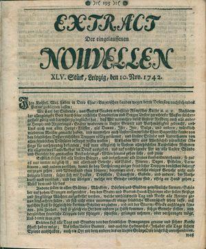 Extract der eingelauffenen Nouvellen vom 10.11.1742