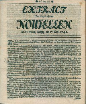 Extract der eingelauffenen Nouvellen vom 17.11.1742