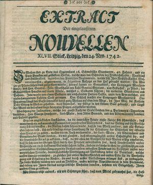 Extract der eingelauffenen Nouvellen vom 24.11.1742