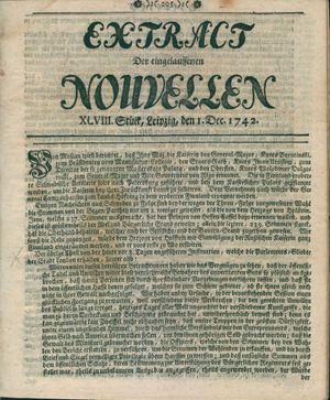 Extract der eingelauffenen Nouvellen vom 01.12.1742