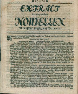 Extract der eingelauffenen Nouvellen vom 08.12.1742