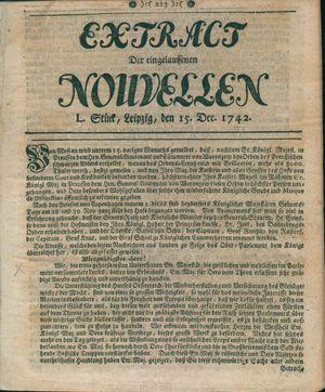 Extract der eingelauffenen Nouvellen vom 15.12.1742