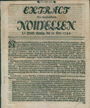 Extract der eingelauffenen Nouvellen vom 22.12.1742