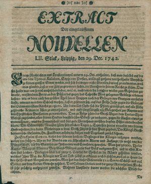 Extract der eingelauffenen Nouvellen vom 29.12.1742