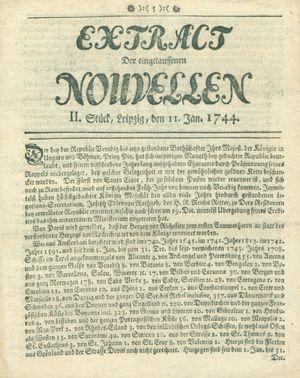 Extract der eingelauffenen Nouvellen vom 11.01.1744