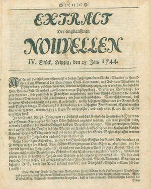 Extract der eingelauffenen Nouvellen vom 25.01.1744